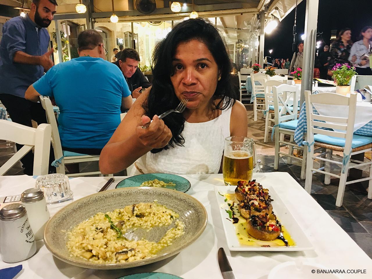 Enjoying Risotto at a Lakeside restaurant.