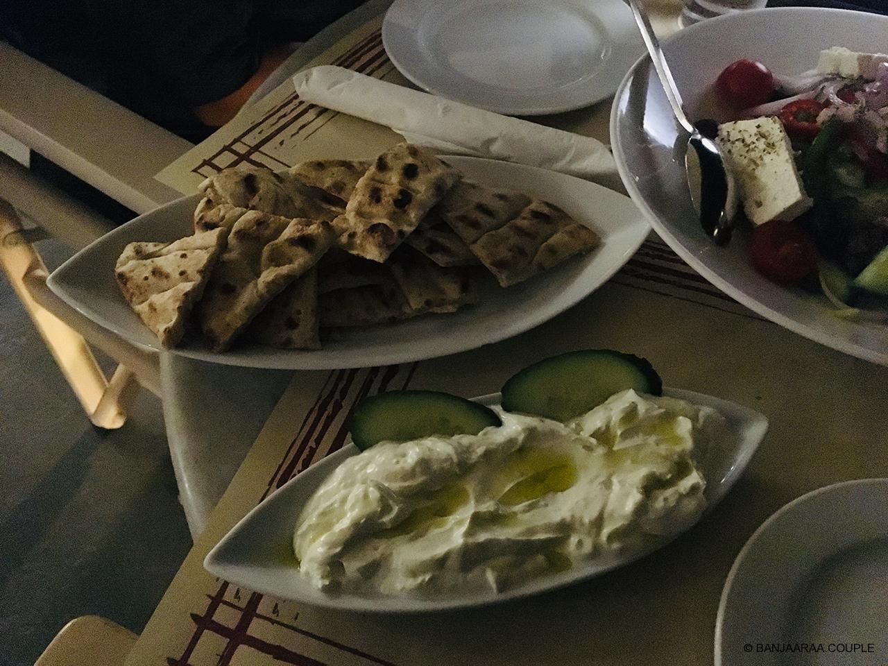 Greek Salad and Tzatziki with bread.