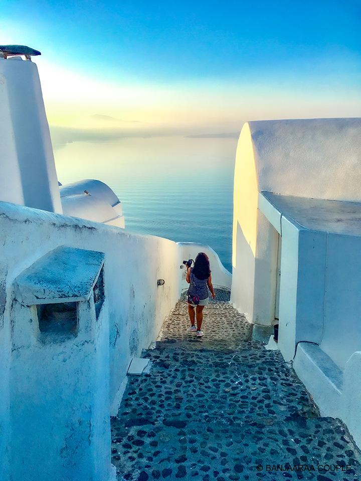 Morning stroll through the streets of Oia