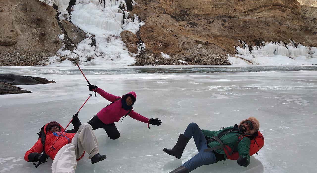 Our first falling fun on ice