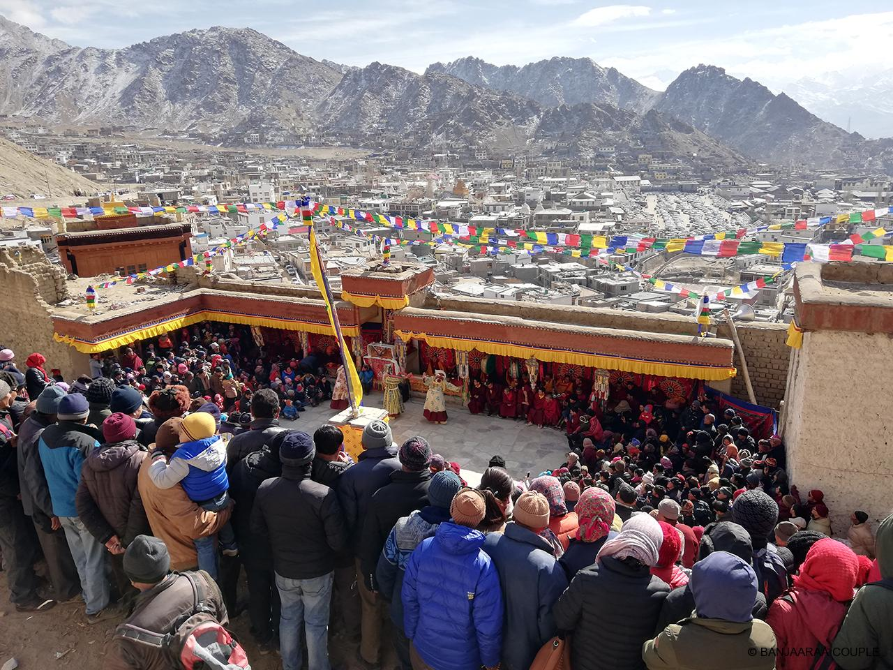 Crowd Cheering the monks peforming the Cham dance