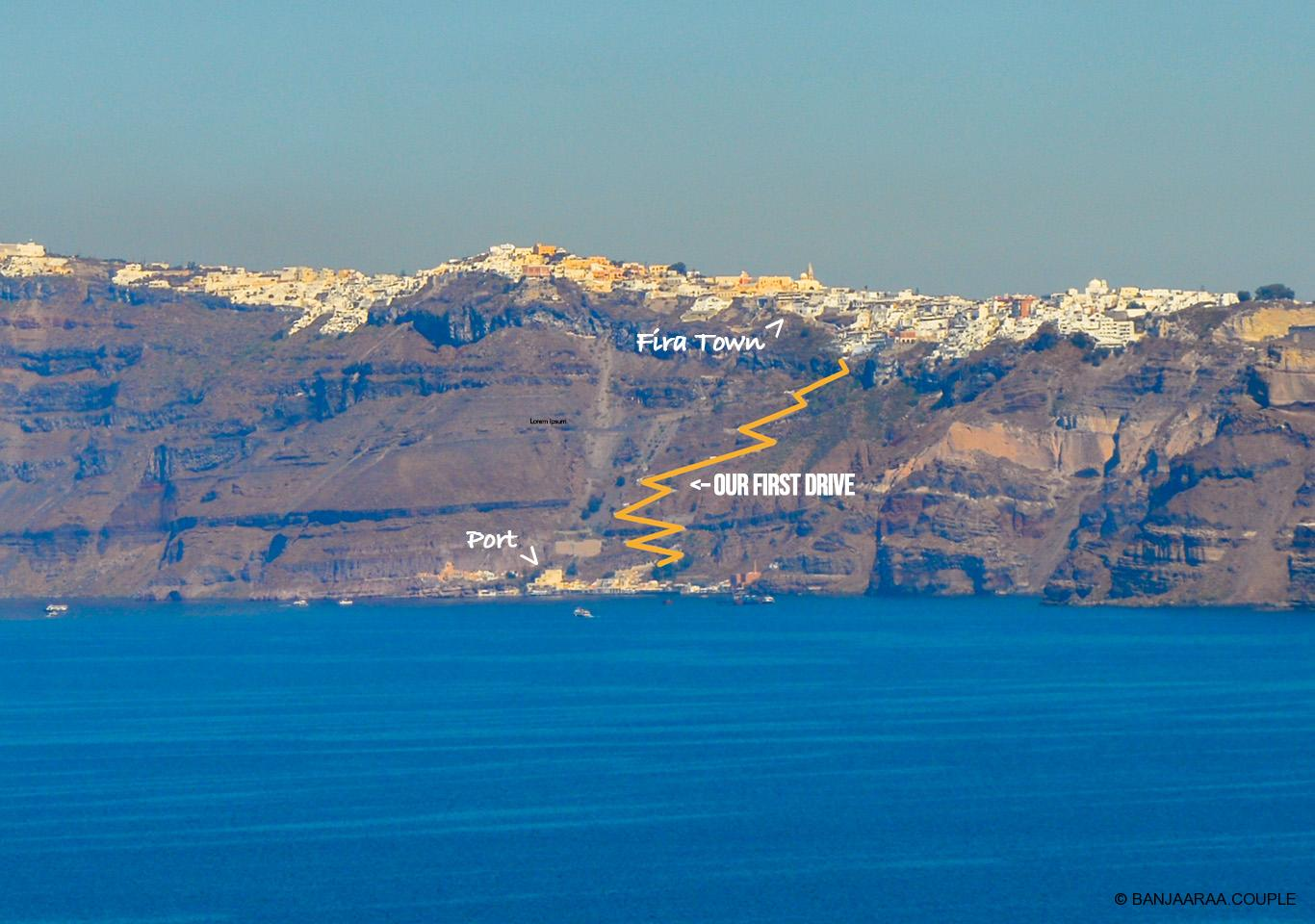 Drive from port to Fira town is steep. From Fira you further drive to Oia