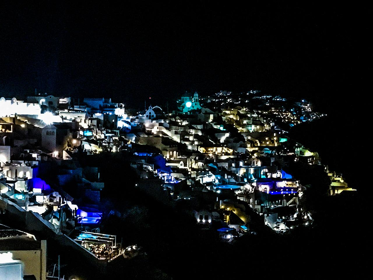 A beautiful view of Oia at night