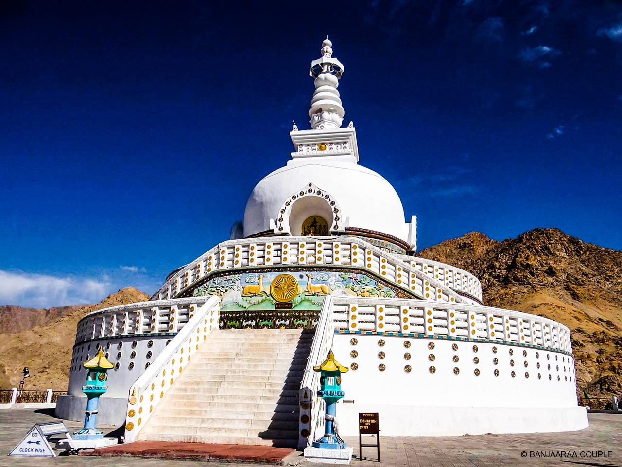 Shanti Stupa in bright day light