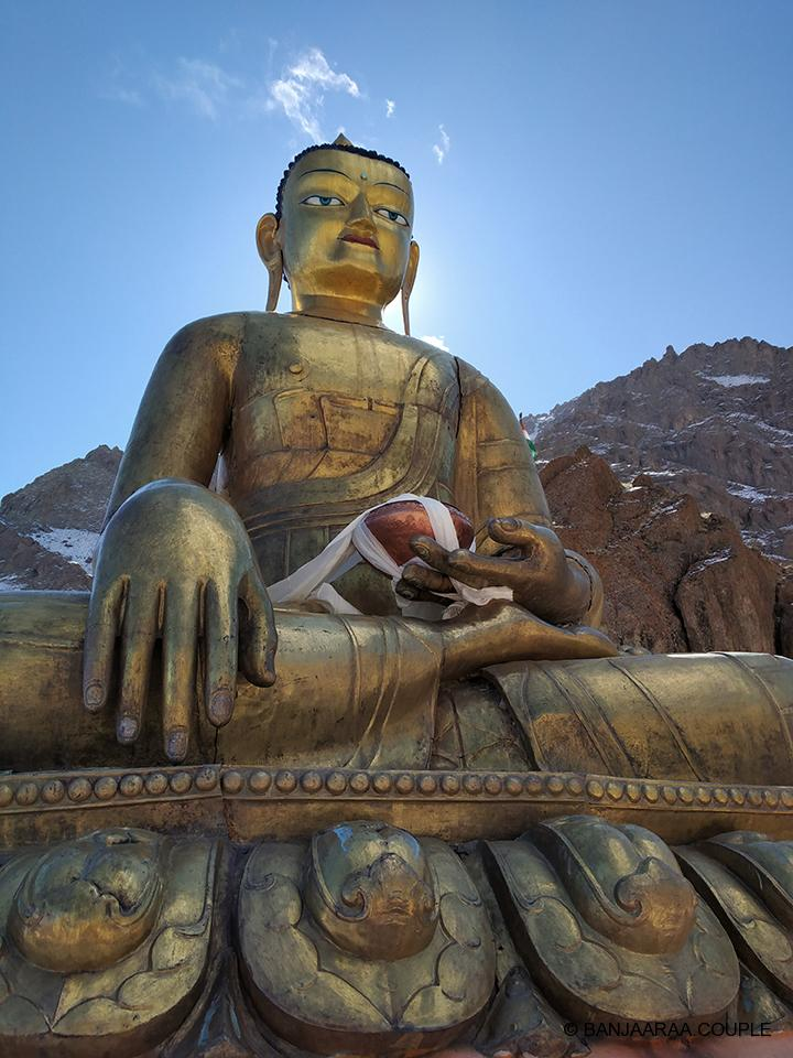 Golden Buddha Statue at the top opposite Hemis Monastery