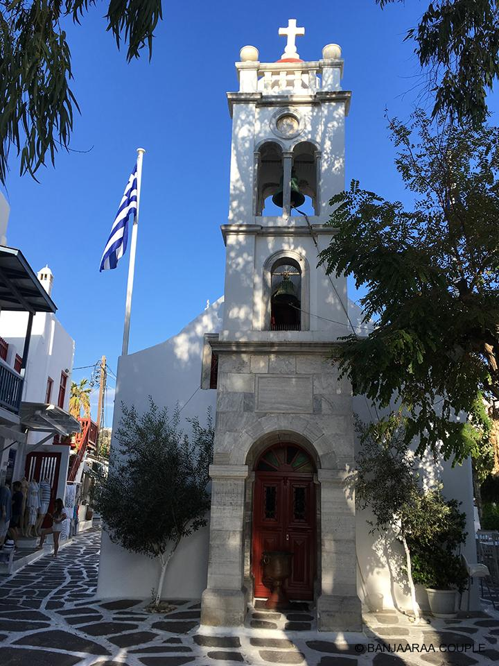 A beautiful church on the streets of Mykonos