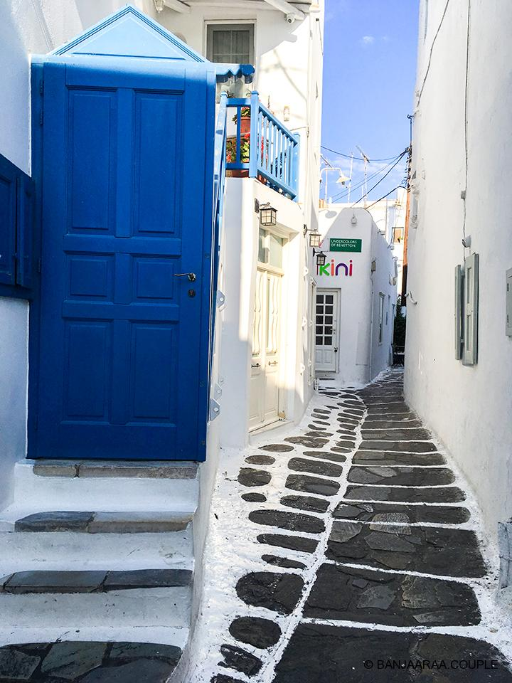 Whitewashed houses and streets of Mykonos