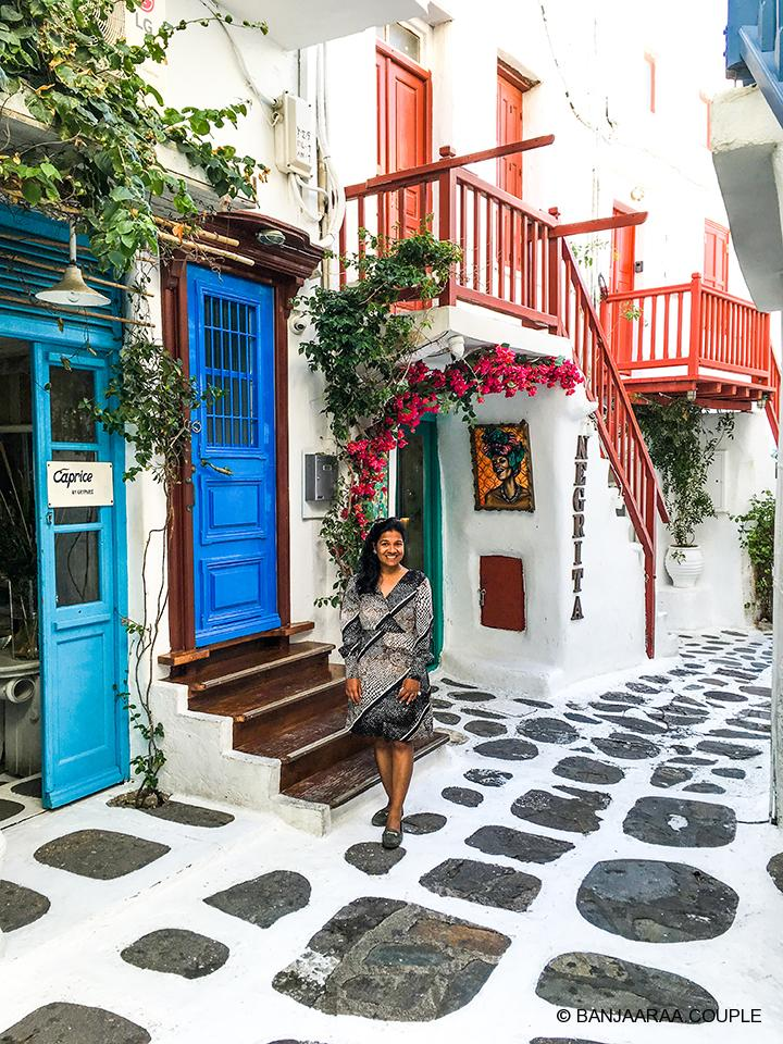 A colorful cafe in the alleys of Mykonos